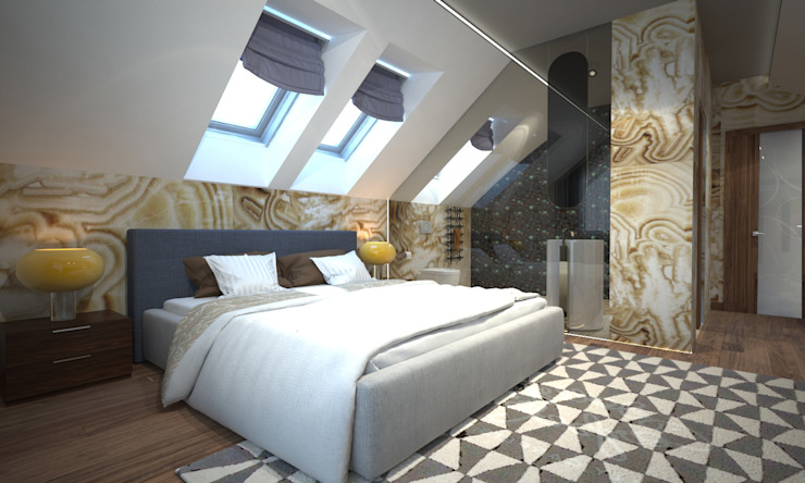 ISDesign group s.r.o. Eclectic style bedroom Ceramic Beige