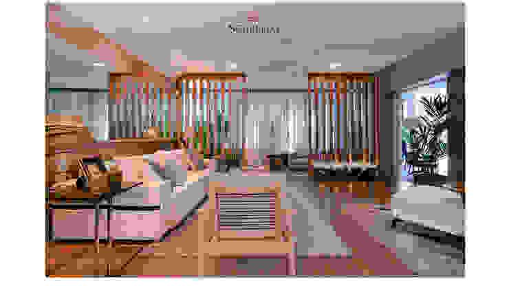Sala Ampla Living Estar para receber com elegância por Sgabello Interiores Moderno Algodão Vermelho