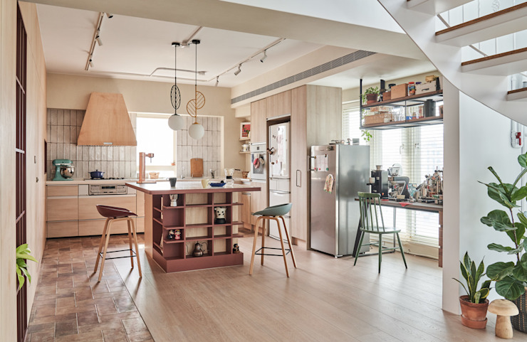 MSBT 幔室布緹 Cocinas de estilo asiático Derivados de madera Beige