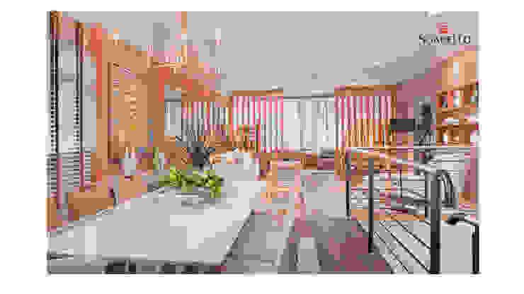 Mesa de Jantar em Laca OffWhite com Vidro 4mm pintado da mesma cor. Com cadeiras na cor Fendi por Sgabello Interiores Moderno MDF