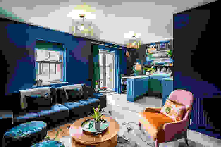 Bar & Media Room in Family Home Decorbuddi Media room Blue