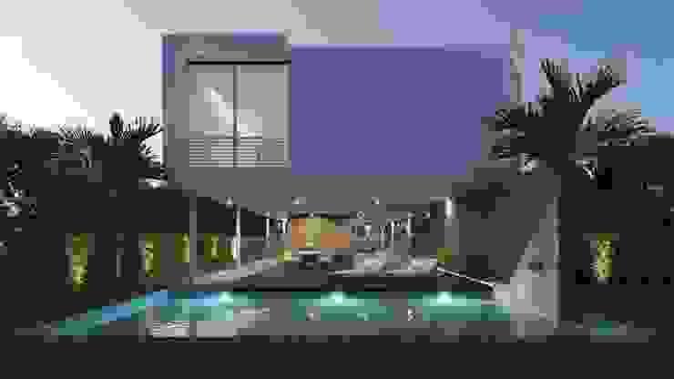 Pool villa Abodde Luxury Homes Piletas naturales Concreto reforzado Blanco