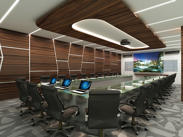 Office in Mumbai by L V Designs Modern Wood Wood effect