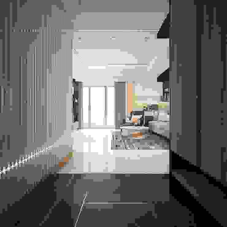 澄玉二期 / 實品屋 群築室內裝修設計有限公司 現代風玄關、走廊與階梯 White