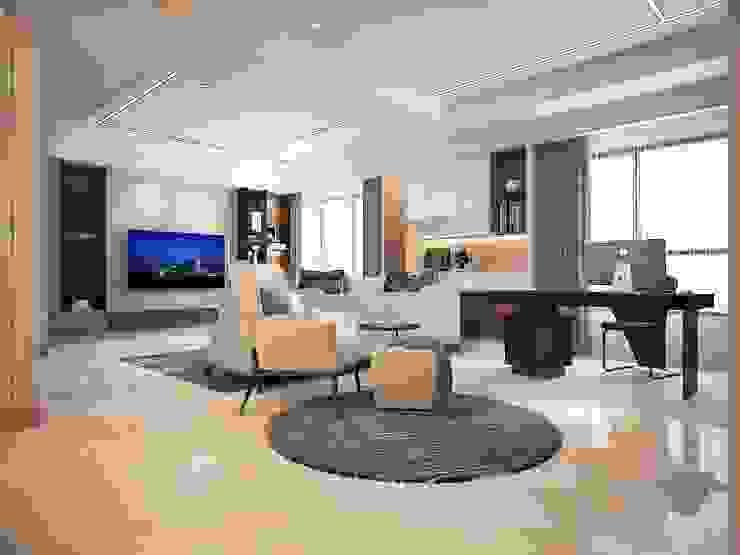 澄玉二期 / 實品屋 群築室內裝修設計有限公司 现代客厅設計點子、靈感 & 圖片 White