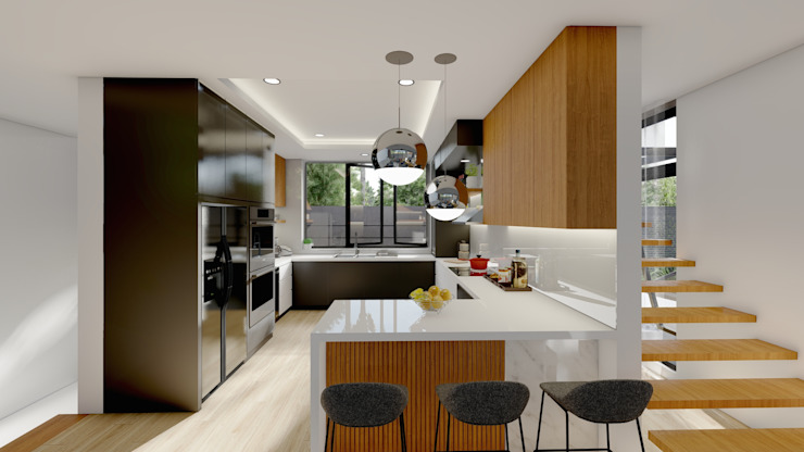 Kitchen Structura Architects Built-in kitchens Wood Brown