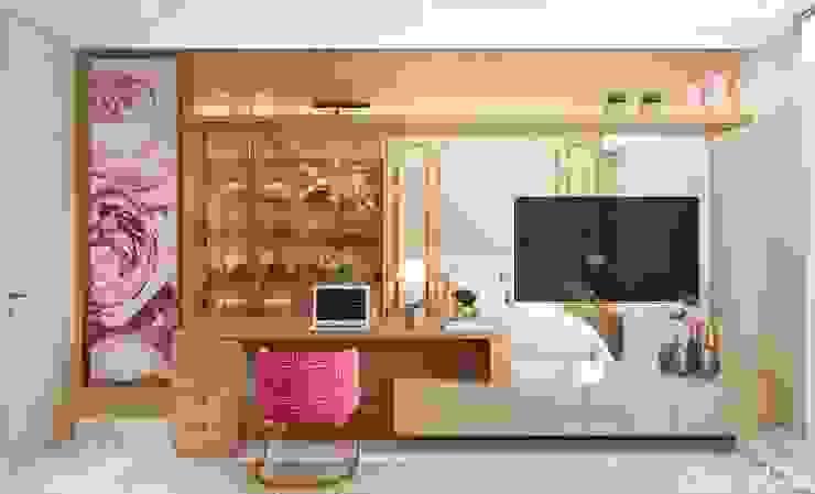 Quarto Camila Pimenta | Arquitetura + Interiores Quartos pequenos Madeira Bege