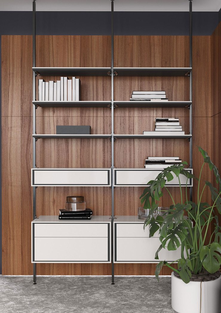 ITALIANELEMENTS Living roomShelves Aluminium/Seng White