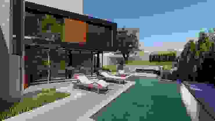 PISCINA Studio Arq20 Arquitetura Casas minimalistas Vidro Preto