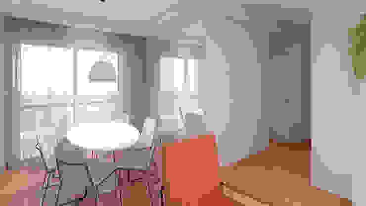 Mirá Arquitetura Comedores de estilo moderno Madera Blanco