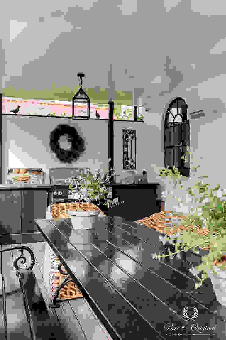Pure & Original Balcon, Veranda & Terrasse ruraux Blanc