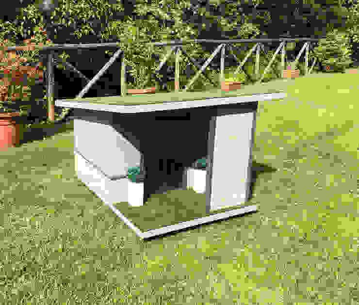 Cuccia moderna da esterno su misura di Pet House Design® Moderno Legno Effetto legno