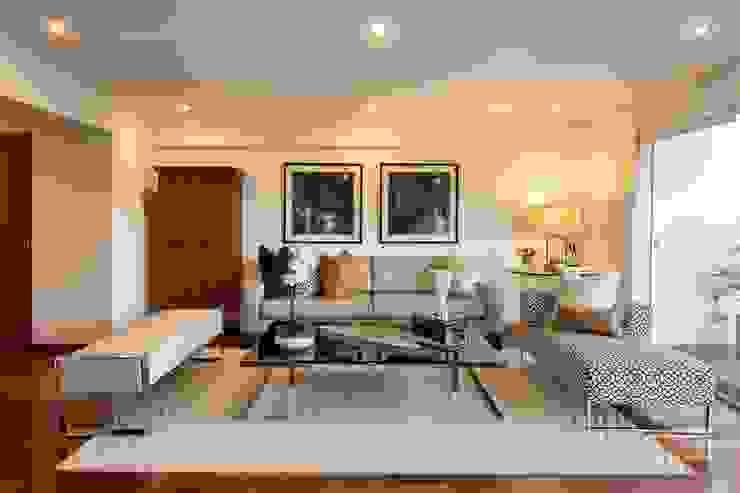 Katherine Quijano - Interiorismo Salas de estilo moderno Compuestos de madera y plástico Beige