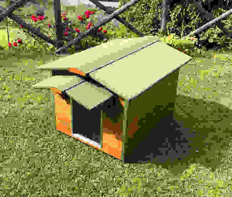 Cuccia in legno da esterno coibentata su misura di Pet House Design® Minimalista Legno Effetto legno