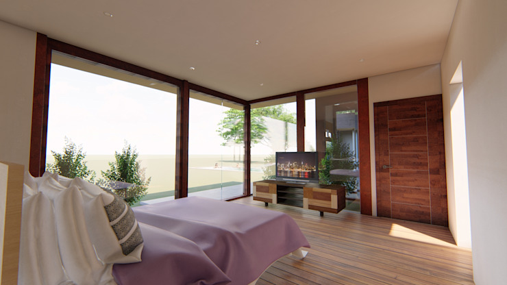 Vivienda Unifamiliar 160 m2. Curicó. Región del Maule Nave + Arquitectura & Modelación Paramétrica Dormitorios de estilo mediterráneo