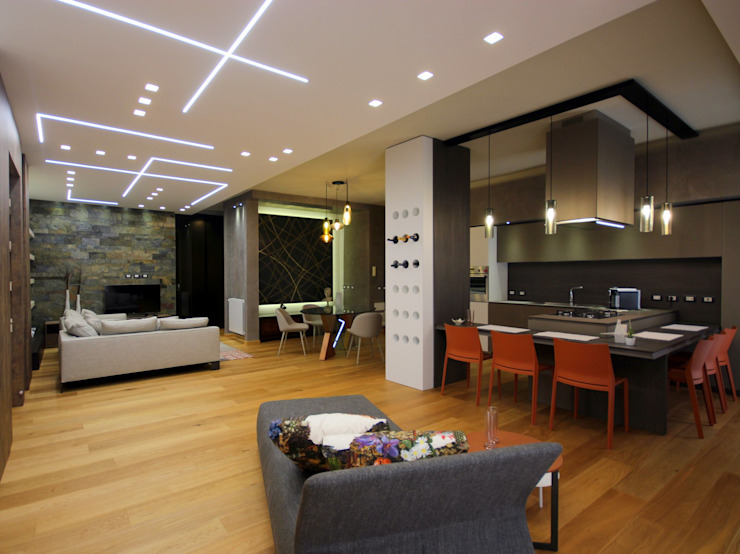 Studio Ferlenda Salas de estilo moderno Pizarra Naranja