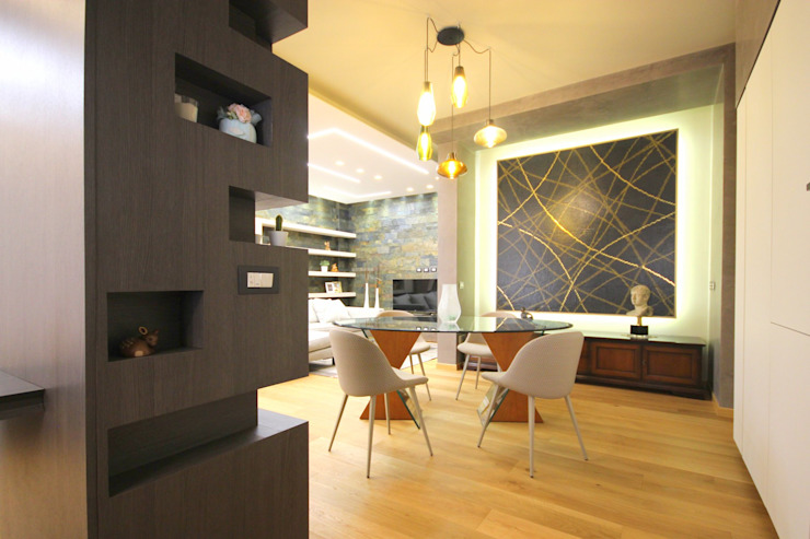 Studio Ferlenda Comedores de estilo moderno Azulejos Gris