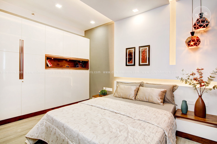 Compact Bedroom Interior Design with White Theme DLIFE Home Interiors Small bedroom