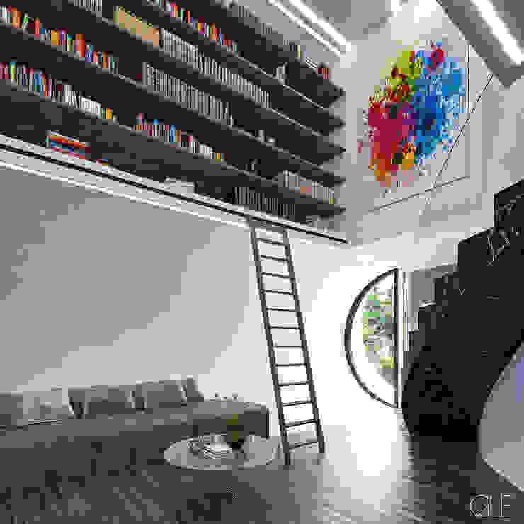 Biblioteca en una doble altura Estudios y despachos modernos de GLE Arquitectura Moderno