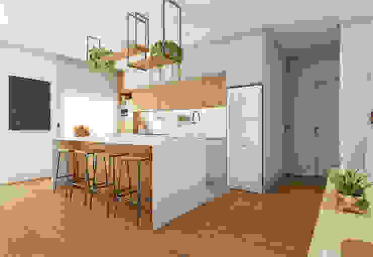 Cozinha com ilha em sala integrada Diana Martins Interiores Cozinhas escandinavas