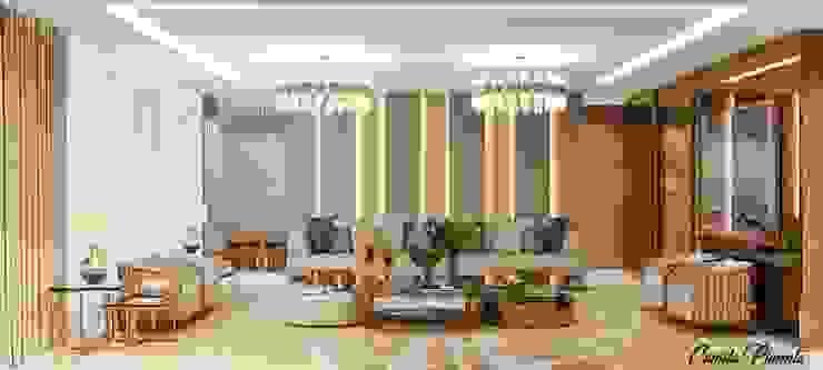 Living Camila Pimenta | Arquitetura + Interiores Salas de estar modernas Mármore Bege