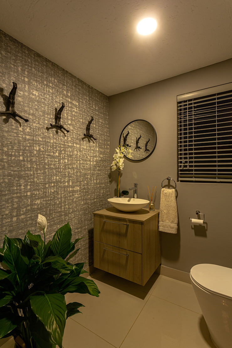 Powder Room Wallpaper feature Eclectic style bathroom by CKW Lifestyle Associates PTY Ltd Eclectic