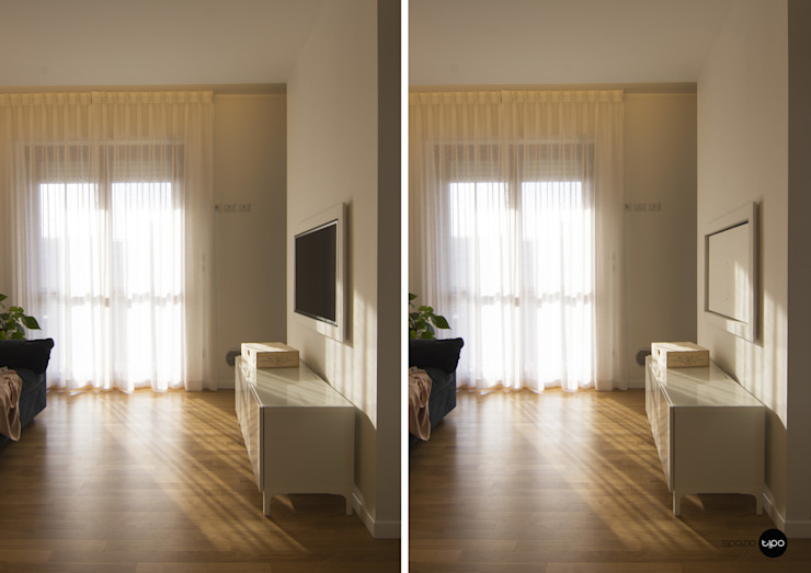 33 mq su misura / la tv rotante Spazio Tipo Soggiorno minimalista Legno Bianco