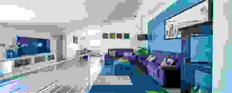 Living (piano superiore) Soggiorno moderno di antonio felicetti architettura & interior design Moderno Cemento