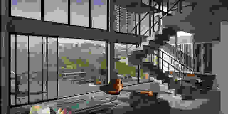 Vista hacia la terraza desde la sala. BOCA proyectos Balcones y terrazas de estilo moderno