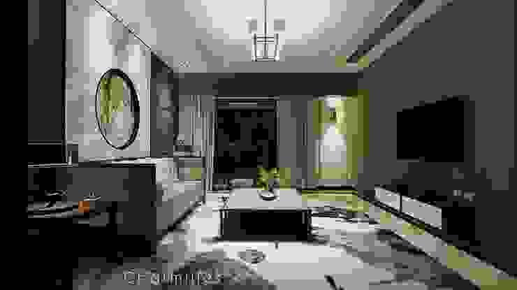 式 中國風 米爾空間設計 客廳 大理石 Brown
