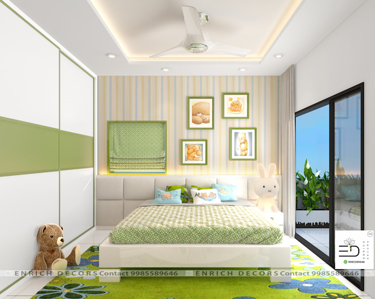 Children Bedroom in Pista Green by Enrich Interiors & Decors Modern