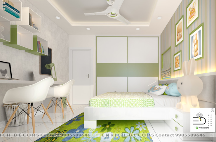Children Bedroom - Wardrobe View Enrich Interiors & Decors Small bedroom Green