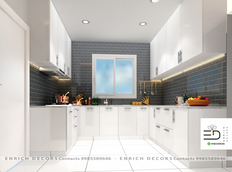 Modular U Shape Kitchen by Enrich Interiors & Decors Modern