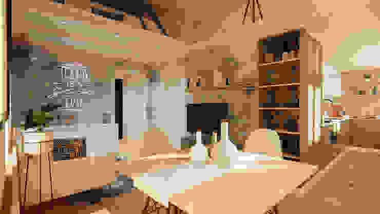 Zona pranzo Soggiorno moderno di Idea Design Factory Moderno