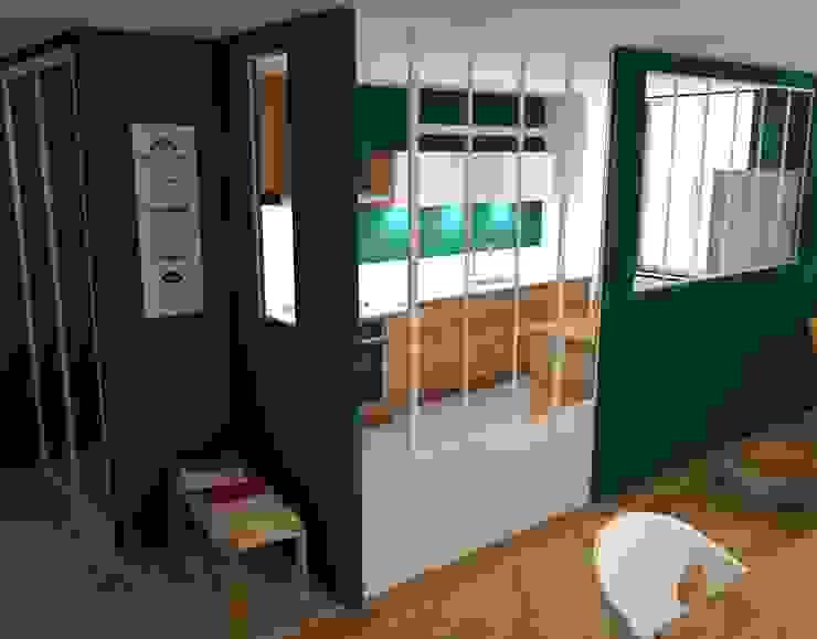 Projet 3D cuisine fermée avec verrière style atelier d'artiste mais blanche par C'LID INTERIEURE Moderne