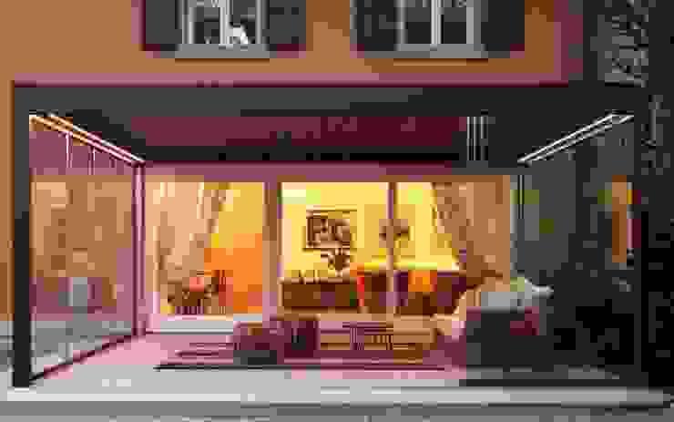 Pergola Bioclimatica con le vetrate scorrevoli Sewa srl Giardino d'inverno moderno