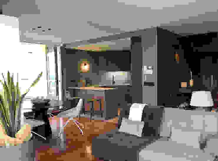 A interiorismo by Maria Andes ห้องนั่งเล่น Grey