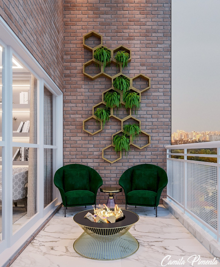 Varanda Camila Pimenta | Arquitetura + Interiores Varandas Tijolo Verde