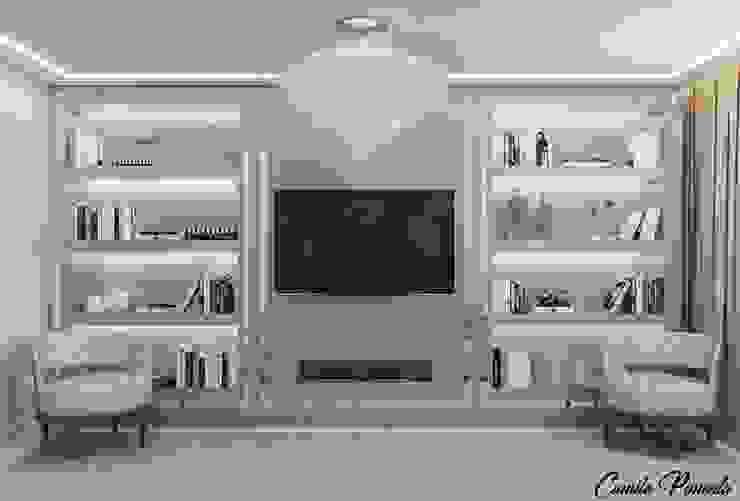 Sala de Estar Camila Pimenta | Arquitetura + Interiores Salas de estar modernas Madeira Cinza