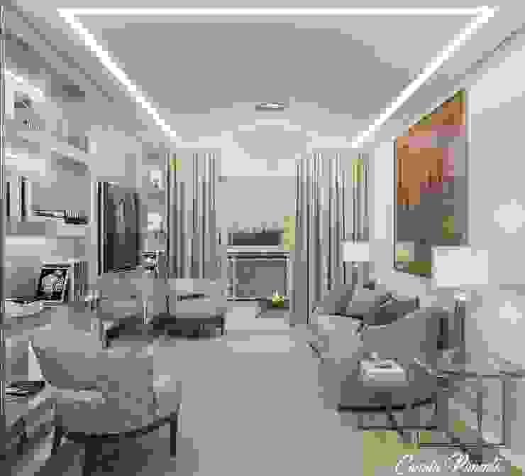 Sala de Estar Camila Pimenta | Arquitetura + Interiores Salas de estar modernas Madeira Bege