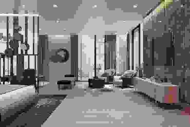 Yatak alanından oturma alanına bakış Modern Oturma Odası Entrada Mimarlık Modern Mermer