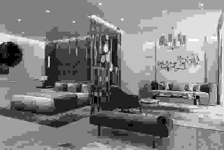 Yatak alanı ve oturma alanına bakış Modern Oturma Odası Entrada Mimarlık Modern Ahşap Ahşap rengi