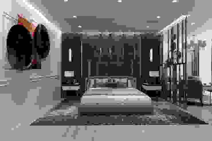 Otel odası yatak alanı Entrada Mimarlık Modern Bakır/Bronz/Pirinç
