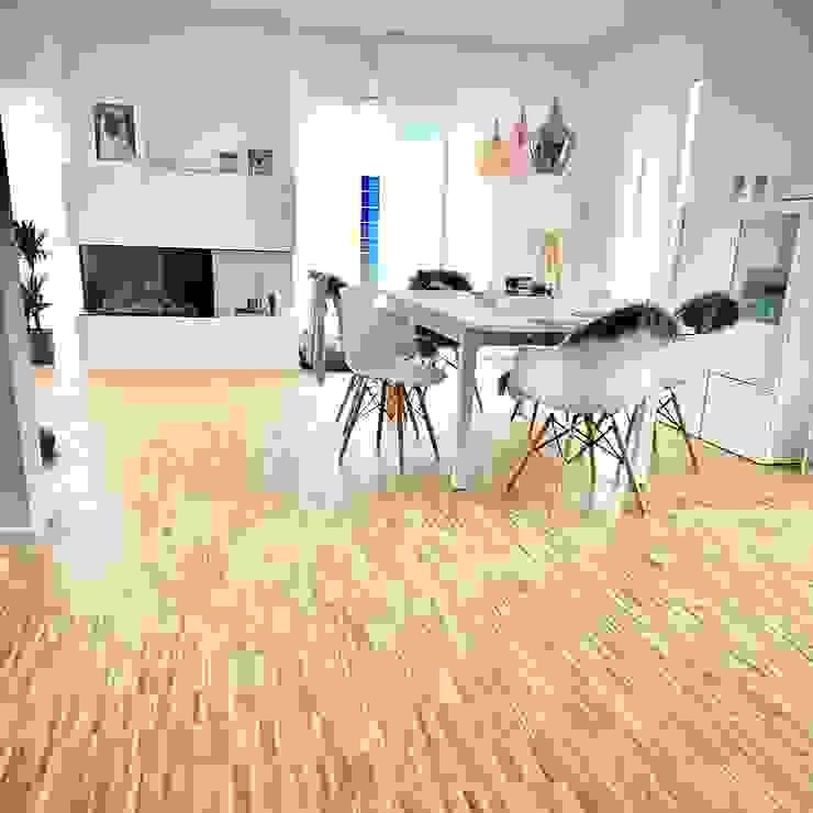Einfamilienhaus - Industrieparkett Eiche geölt Bodenständig Parkett Moderne Esszimmer Massivholz