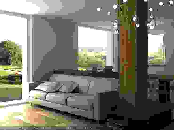 Vista soggiorno con colonna Soggiorno moderno di CLARE studio di architettura Moderno