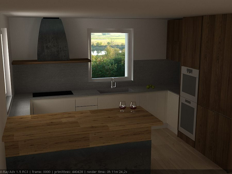 Vista cucina con luce naturale Cucina moderna di CLARE studio di architettura Moderno