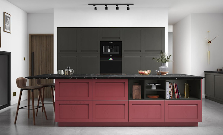 Harborne Graphite and Chicory Red Fitted Kitchen Mya Home KitchenCabinets & shelves MDF Red