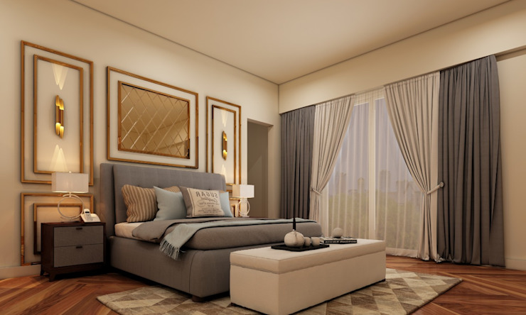 Layered bed back with mirror finished panel Minimalist bedroom by Lakkad Works Minimalist