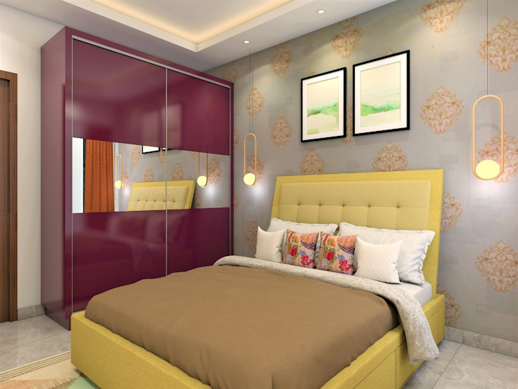 Stallion Maroon Wardrobe Bedroom Minimalist bedroom by Lakkad Works Minimalist