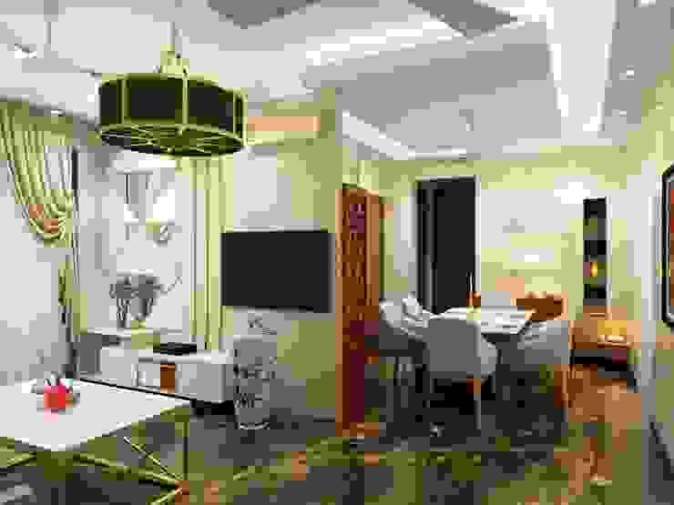L shaped living space Minimalist living room by Lakkad Works Minimalist